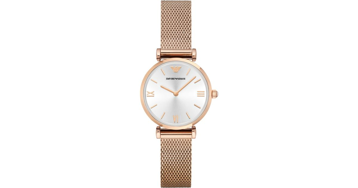 Lyst - Emporio Armani Women s Gianni T-bar Rose Gold-tone Stainless Steel  Mesh Bracelet Watch 32mm Ar1956 in Pink f41ea4150f84