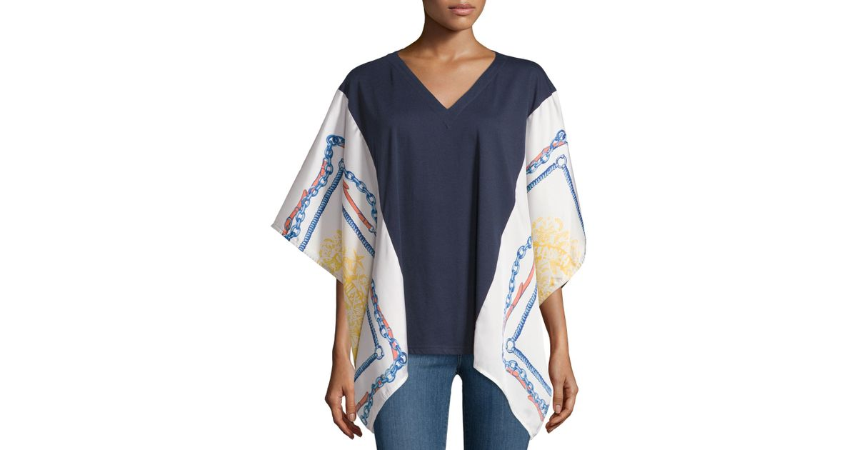 neiman scarf print v neck tunic in blue lyst
