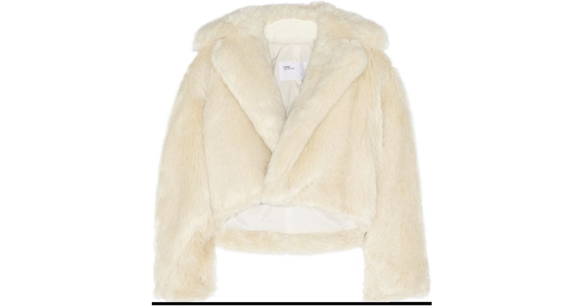 Toga Cropped Faux Fur Jacket In Beige Cream Lyst