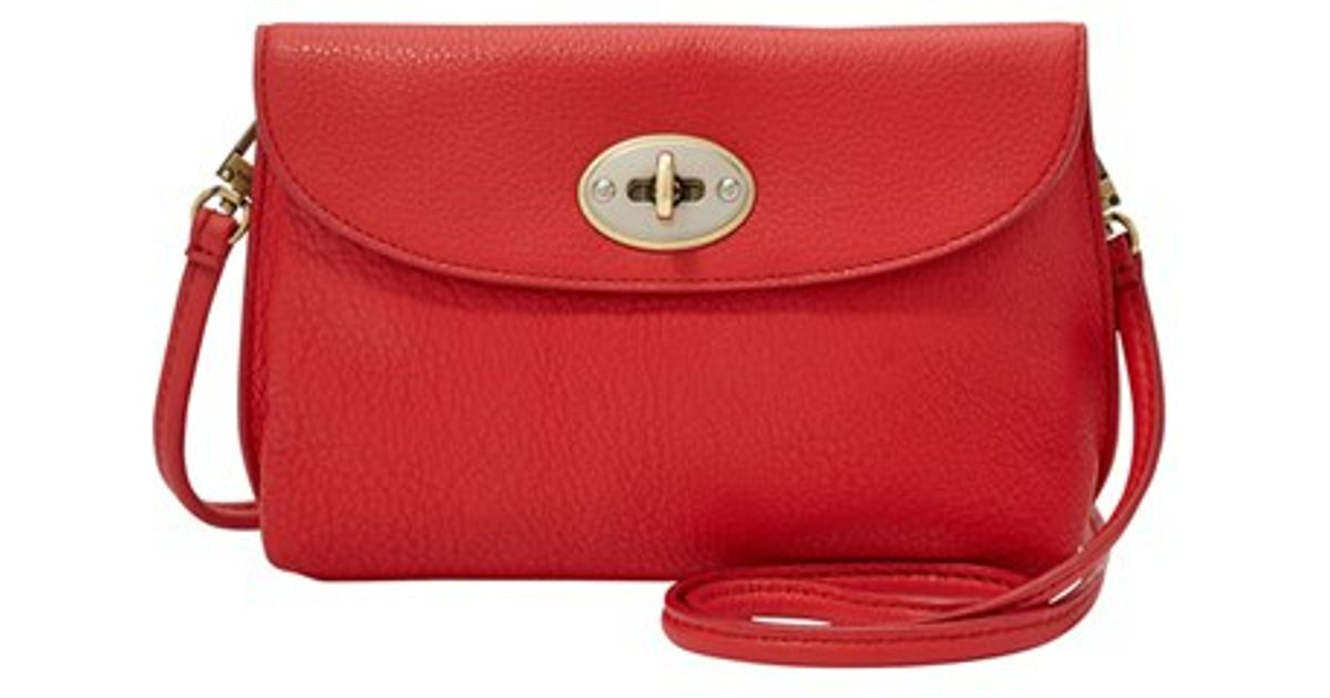 Fossil Monica Leather Cross-Body Bag in Red | Lyst