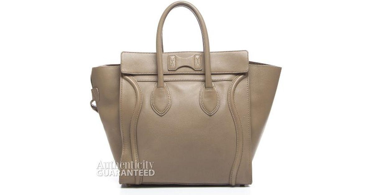 C¨¦line Pre-owned Tan Calfskin Mini Luggage Bag in Gray (grey) | Lyst
