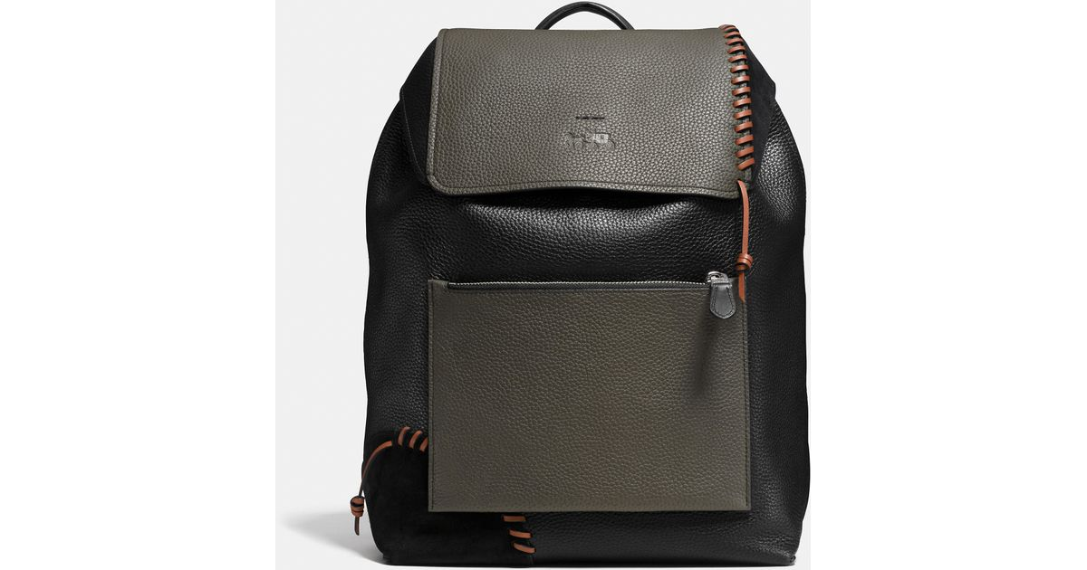 Lyst - COACH X Details Rip And Repair Manhattan Backpack In Leather in  Black for Men 1c9184deacefd