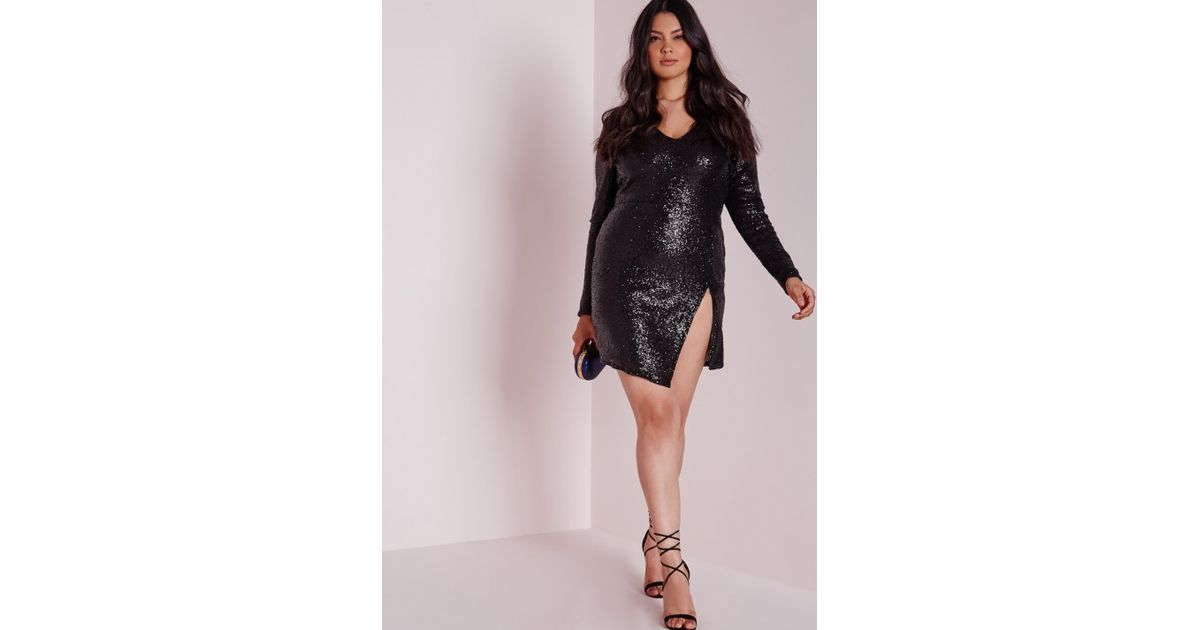 Lyst Missguided Plus Size Sequin Long Sleeve Mini Dress Black In Black