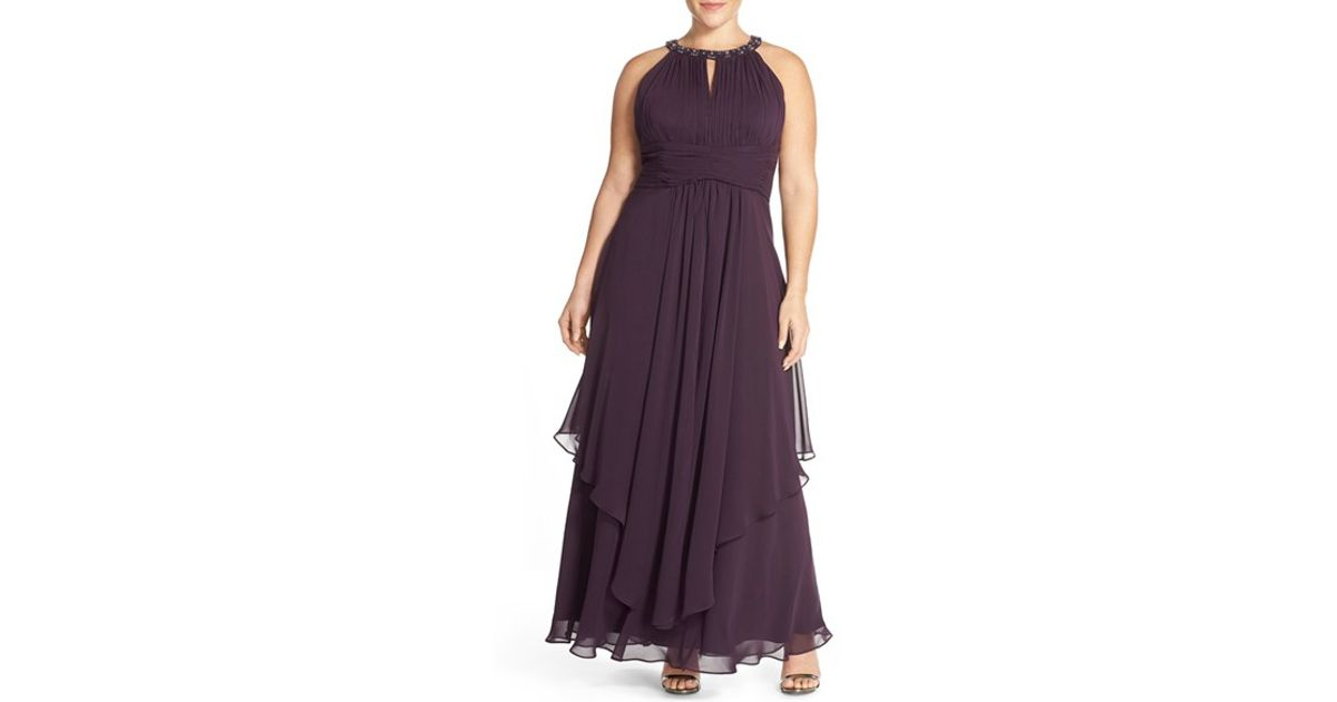 Snap Eliza j Embellished Tiered Chiffon Halter Gown in Purple ...