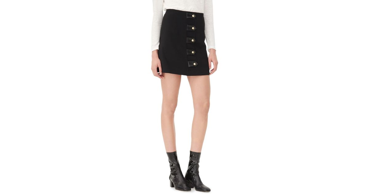 62f714935 Sandro Jarah Leather Tab Skirt in Black - Lyst