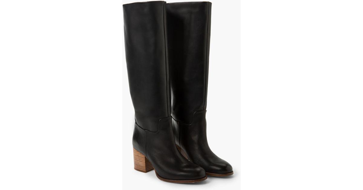 d30cb00abd5 Lyst - Mango Leather High-leg Boots in Black