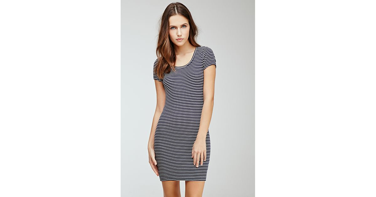 Lyst Forever 21 Ribbed Striped Bodycon Dress Youve Been Added To