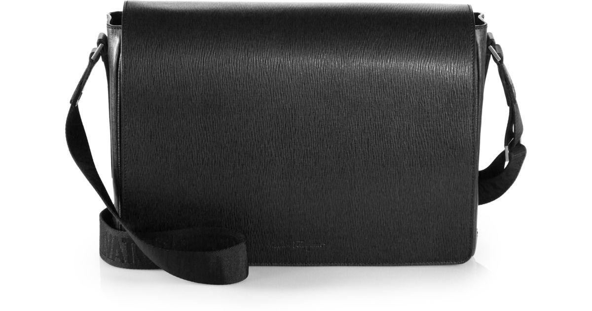 Lyst Ferragamo Leather Messenger Bag In Black For Men