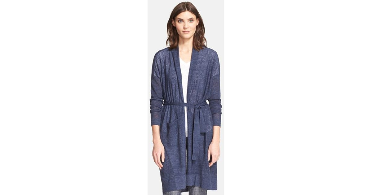 Vince Long Belted Cardigan in Blue | Lyst