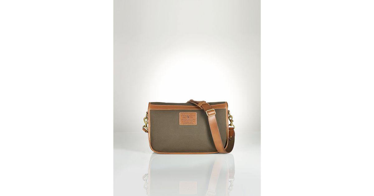 7398d4a2e7 ... buy lyst polo ralph lauren heritage canvas messenger bag in green for  men 8bbfa f3b74 ...