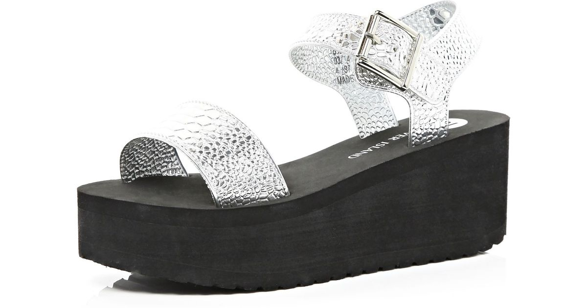 136f061b3973 River Island Silver Snake Jelly Flatform Sandals in Black - Lyst