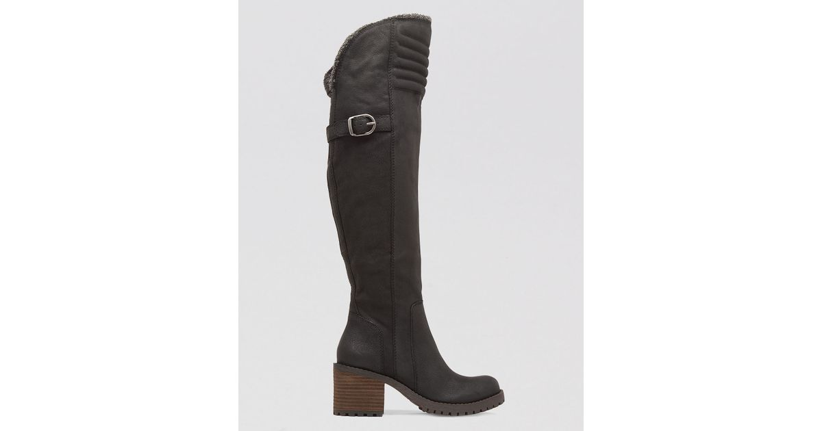 bd5c6394216 Lyst - Lucky Brand Over The Knee Lug Sole Cold Weather Boots - Narlee in  Black