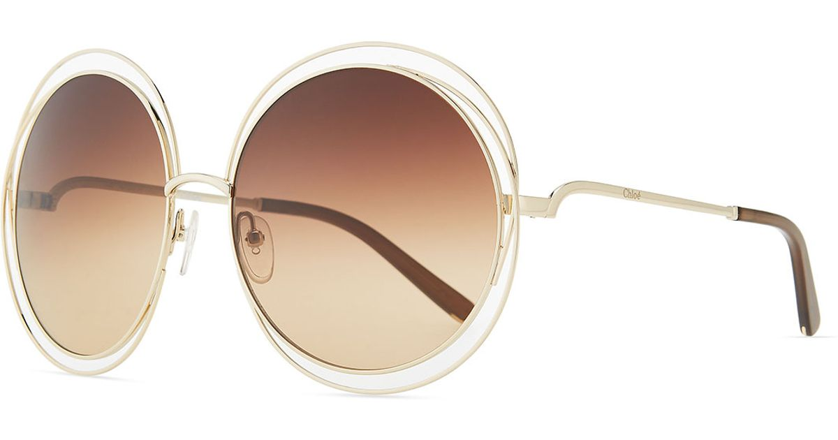 Chloe 79s Gold Frame Sunglasses : Chloe Carlina Round Wire-frame Sunglasses in Pink (ROSE ...