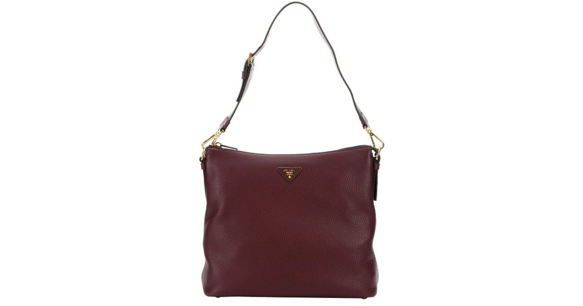 410458b11654 Lyst - Prada Garnet Leather Large Hobo Bag in Purple