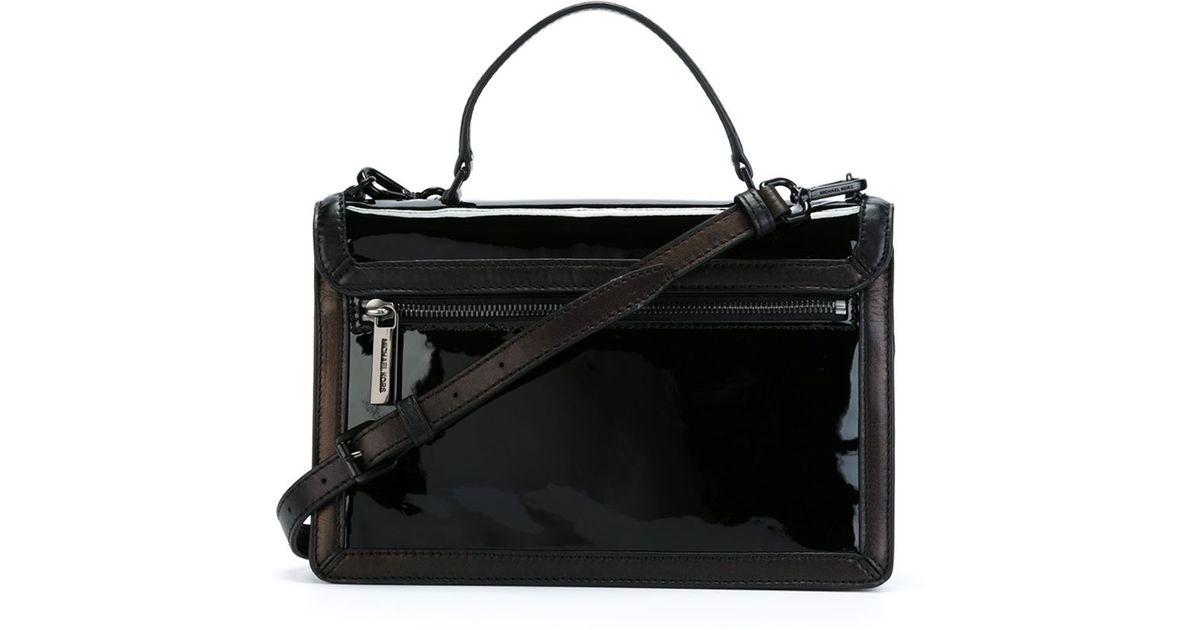 9c44425c883ba8 MICHAEL Michael Kors Callie Patent-Leather Cross-Body Bag in Black - Lyst