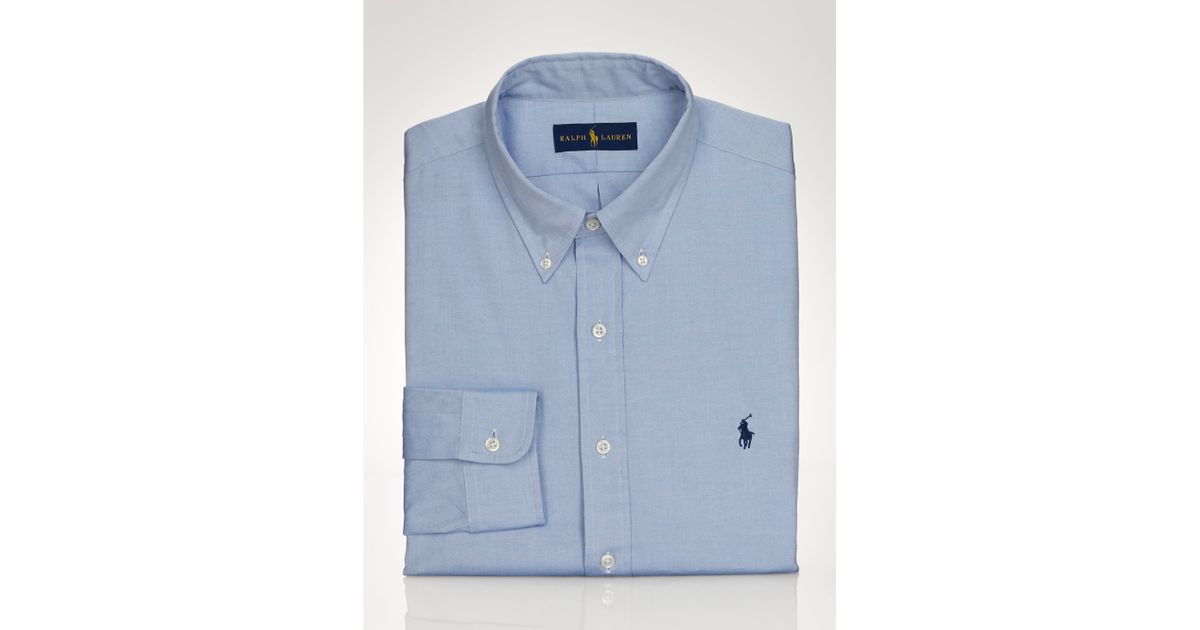 Polo ralph lauren pinpoint oxford dress shirt in blue for for Mens pinpoint dress shirts
