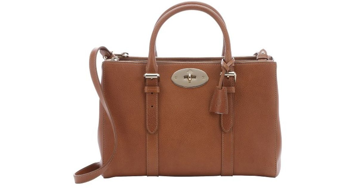 cbc9034fc9d3 ... coupon for lyst mulberry bayswater small double zip natural leather  tote in brown e3ba7 39c6c ...