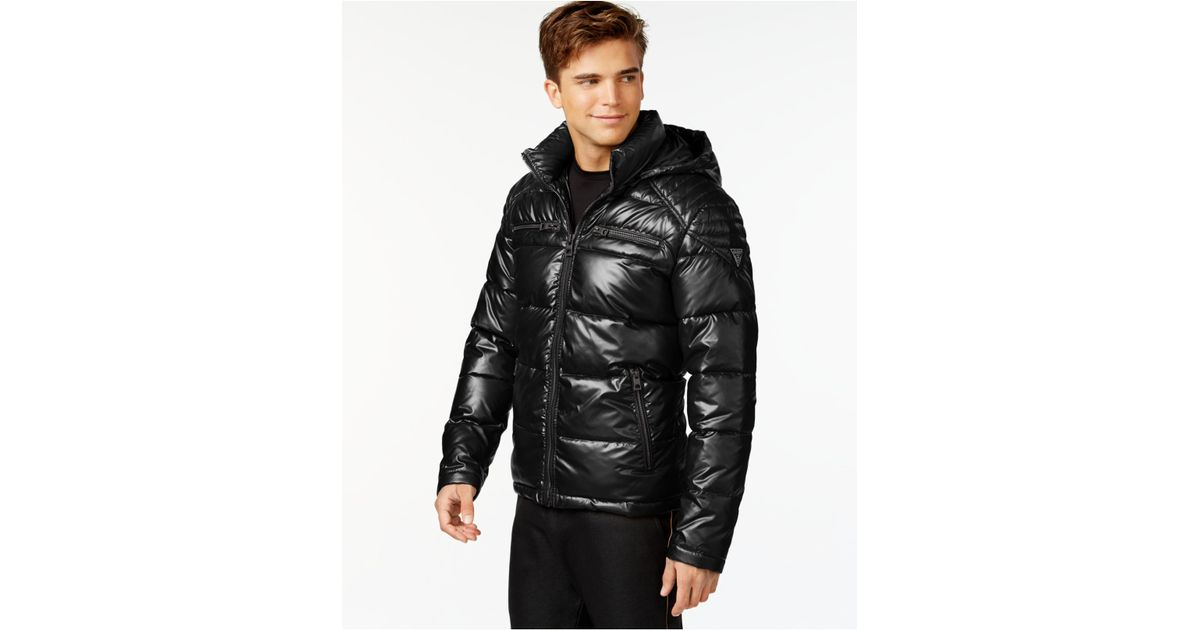 71c491c35f54 Lyst - Guess Hooded Puffer Jacket in Black for Men