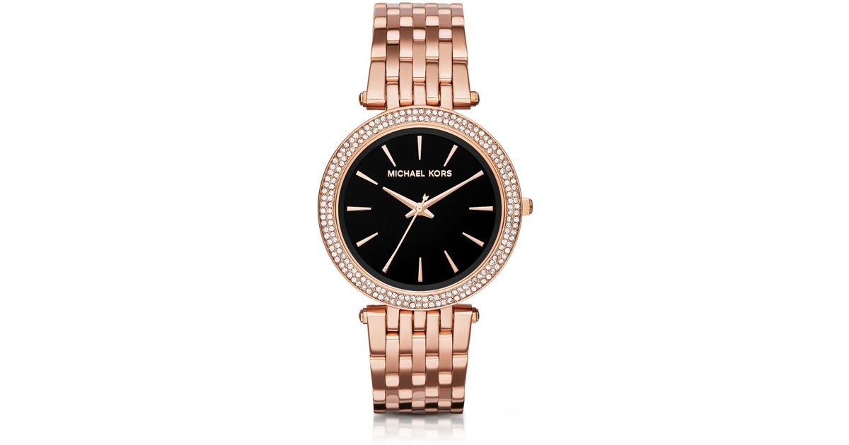 50152ca552e2 Lyst - Michael Kors Darci Pave Rose Gold-tone Watch in Pink