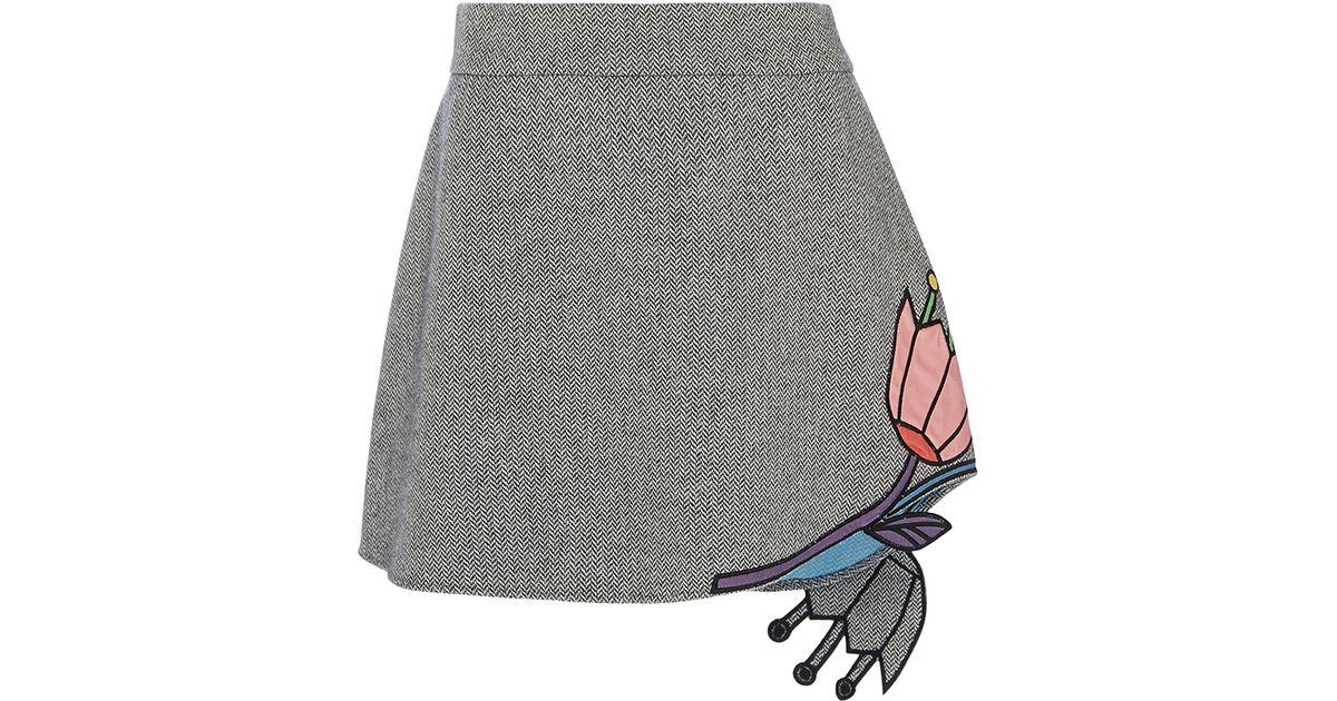Lyst mira mikati flower applique mini skirt in purple