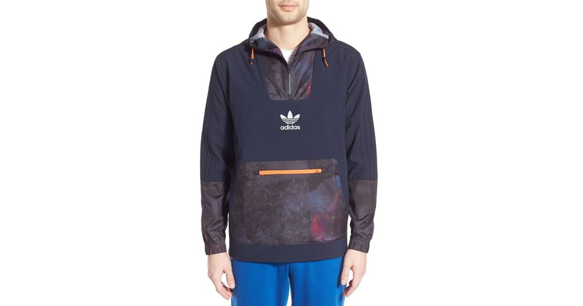 Adidas originals Pullover Hooded Jacket in Blue for Men | Lyst