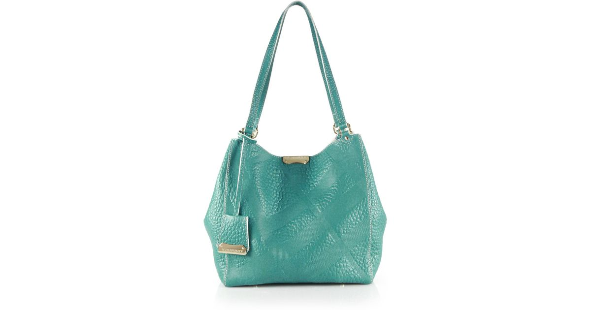 b204320d2759 Lyst - Burberry Canter Small House Check-embossed Pebbled Shoulder Bag in  Blue