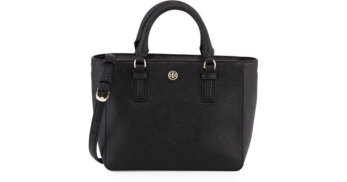 20202e5b452e Lyst - Tory Burch Robinson Mini Square Tote Bag in Black