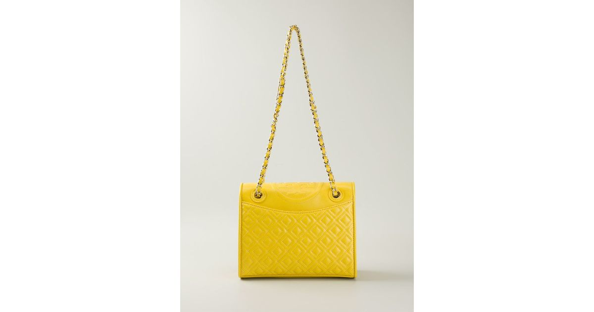 e9f3c8e1e7de Lyst - Tory Burch Fleming Quilted Shoulder Bag in Yellow
