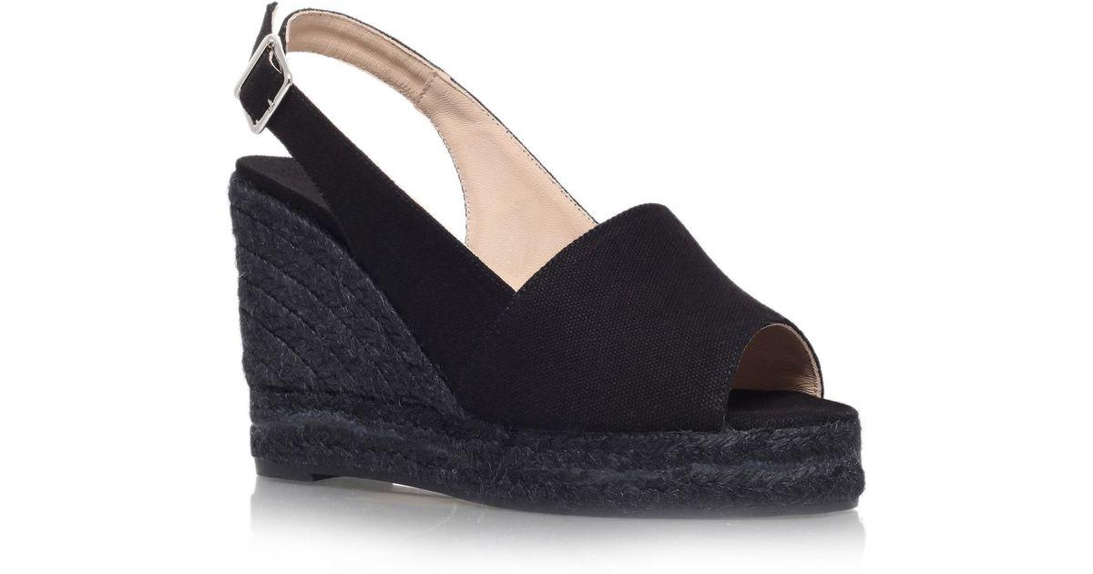 castaner 8 high wedge heel peep toe shoes in black