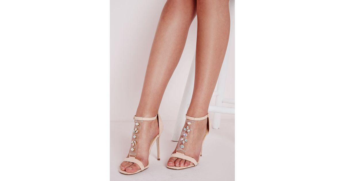 b05a4cce3a5a Missguided Jewelled Perspex T Bar Heeled Sandal Blush in Pink - Lyst