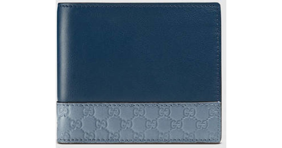 134618242466 Lyst - Gucci Leather Wallet With Microguccissima in Blue for Men