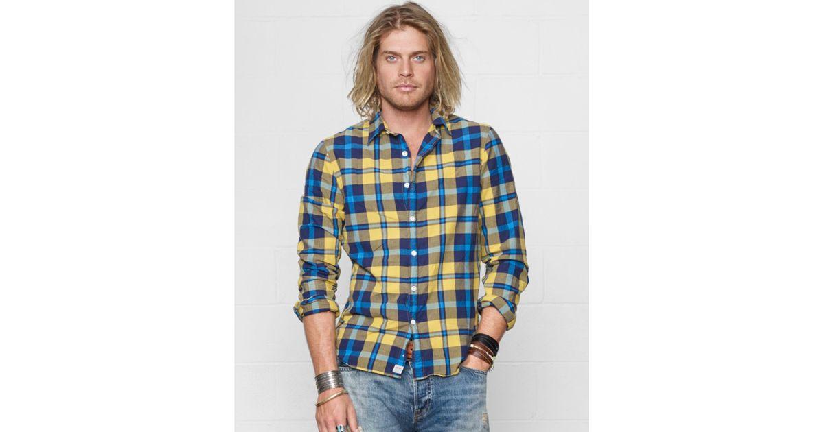 Denim supply ralph lauren cyrus madras plaid shirt in for Blue and yellow plaid dress shirt