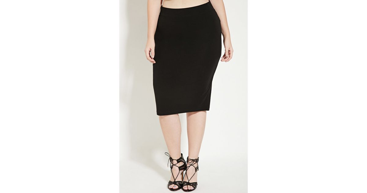 forever 21 plus size knit pencil skirt in black lyst