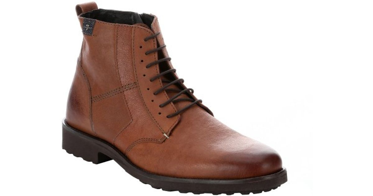 7 for all mankind cognac leather lace up boots in brown