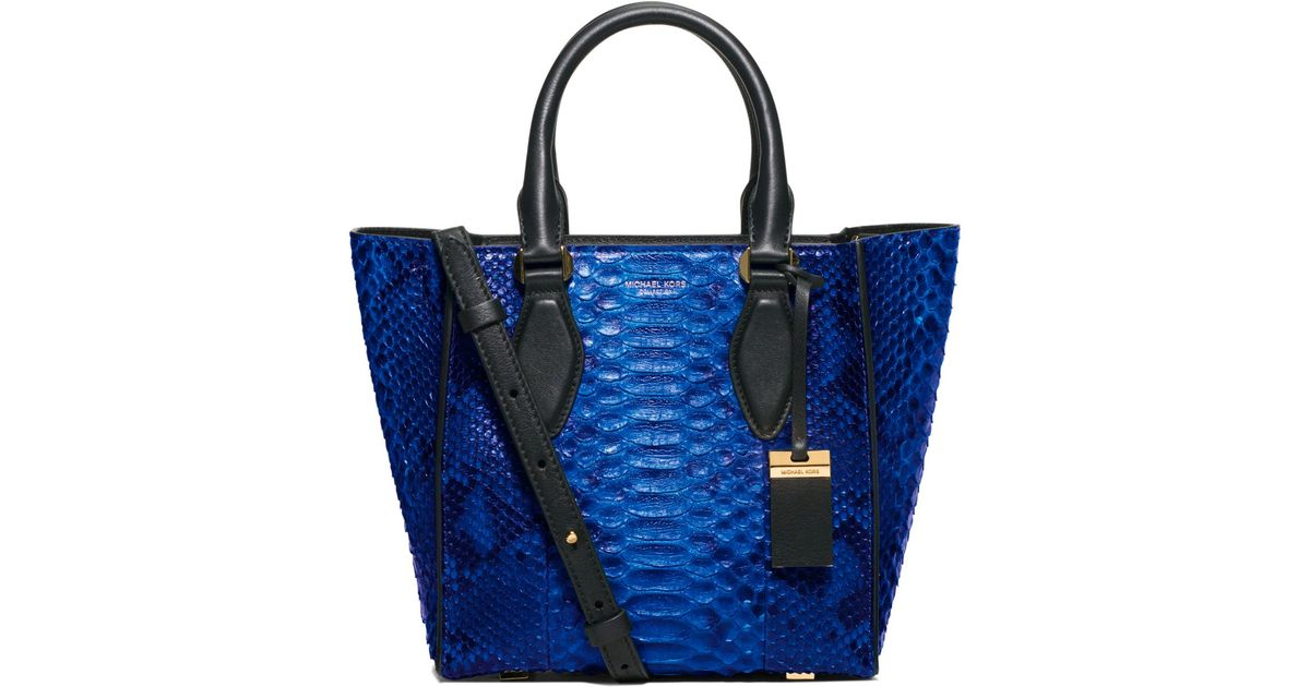 9a87daae0b8925 Michael Kors Gracie Small Python Tote in Blue - Lyst