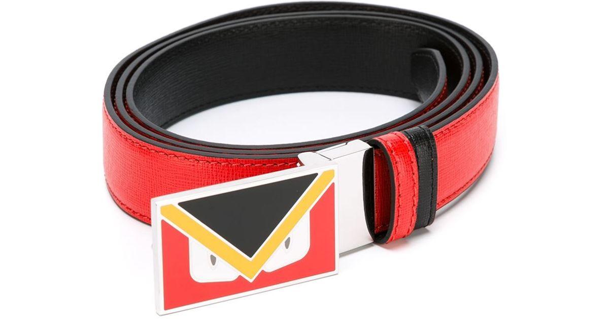 e36c04188758 Lyst - Fendi Bag Bugs Buckle Belt in Red for Men