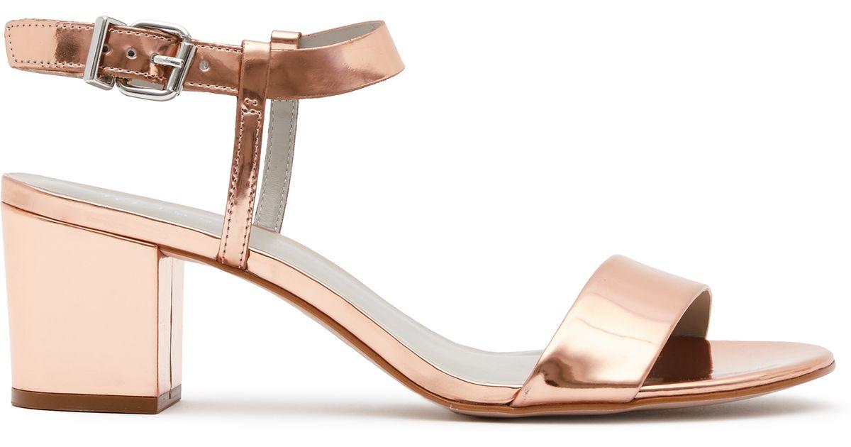 17ee2f4e8f0 Reiss Vivi Block Mid-heel Sandals in Brown - Lyst