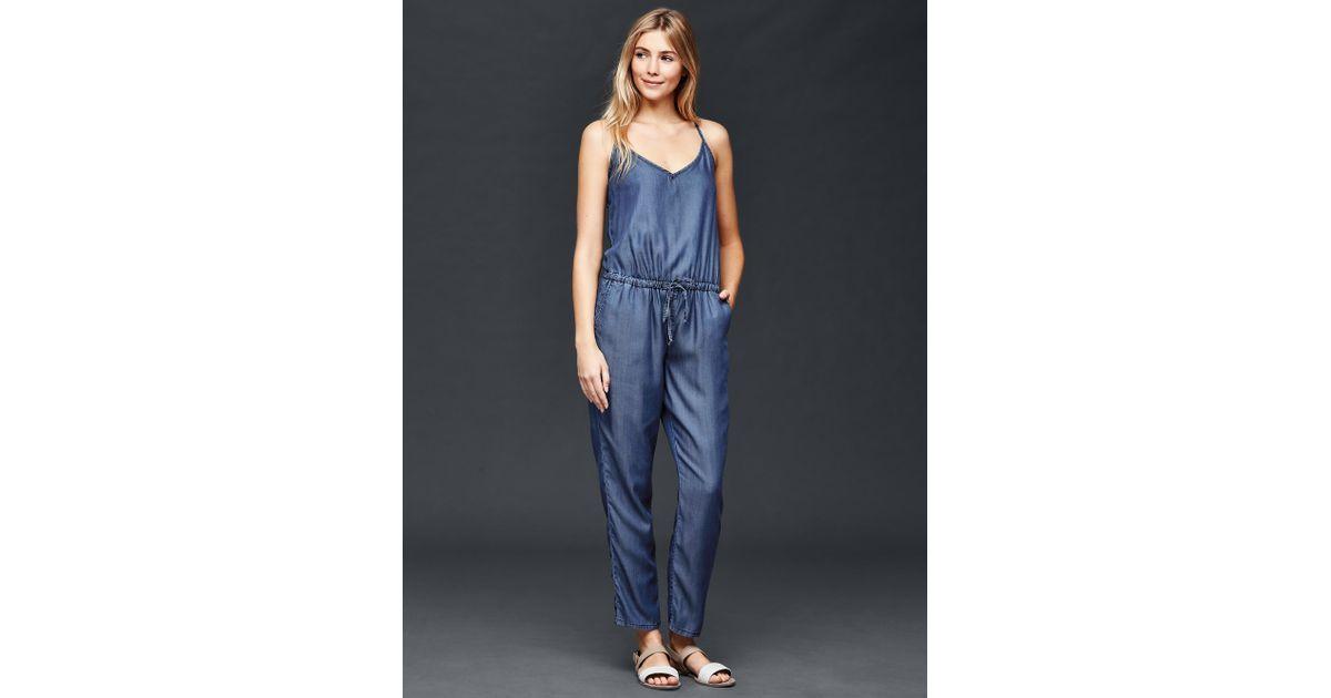 e45d1cb8567 Gap 1969 Tencel® Denim Cami Jumpsuit In Blue (dark Indigo