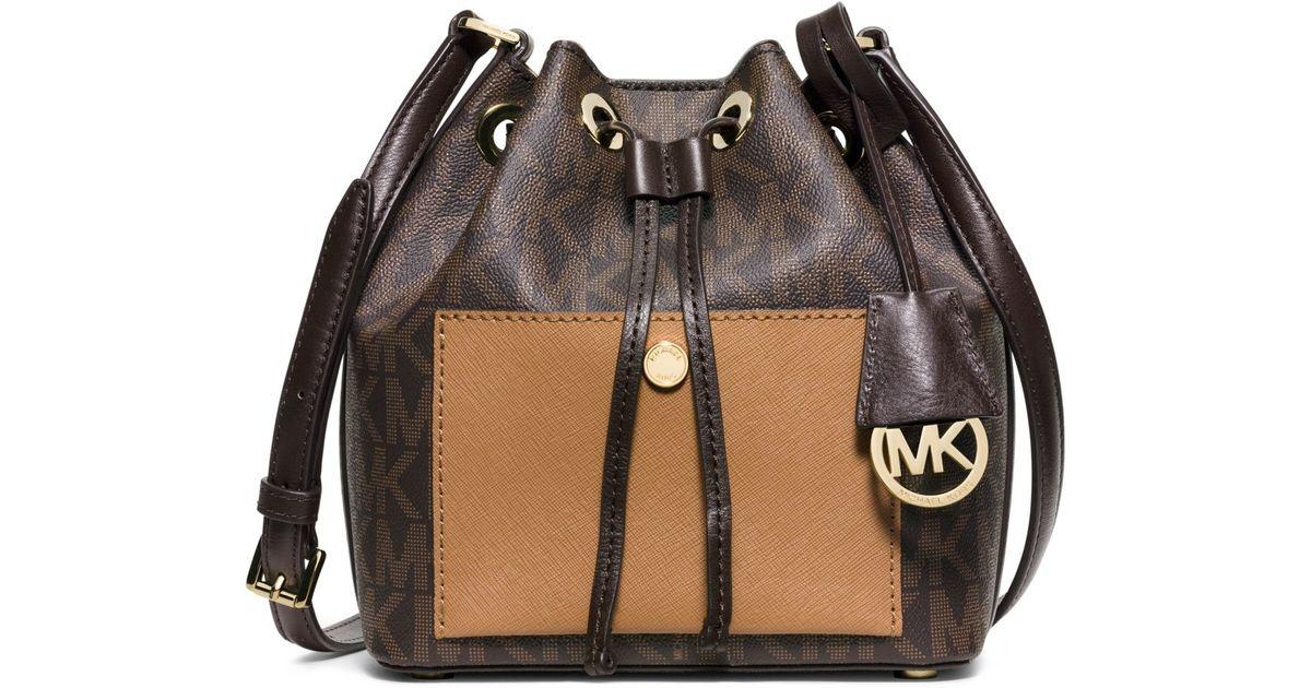 Lyst - Michael Kors Greenwich Small Bucket Bag in Brown 0780cc41bb994