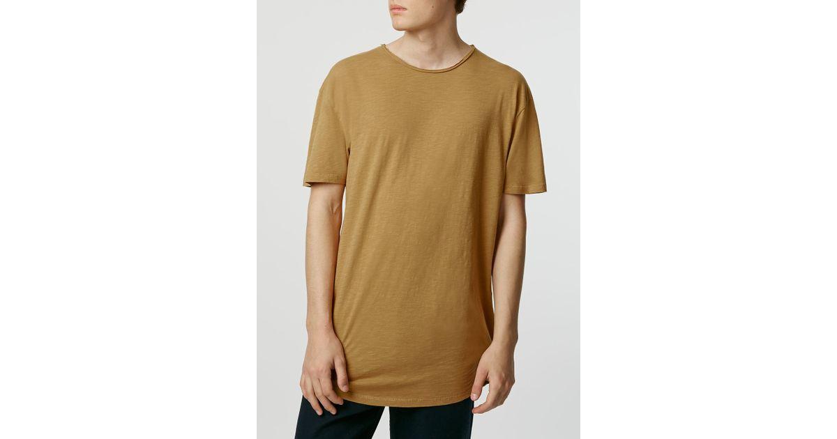 Topman short sleeve slubby long line t shirt in brown for for Long line short sleeve t shirt