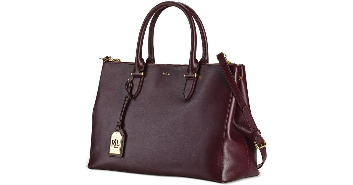 Lyst - Lauren by Ralph Lauren Newbury Double Zip Satchel in Purple e36e2c38ea07d