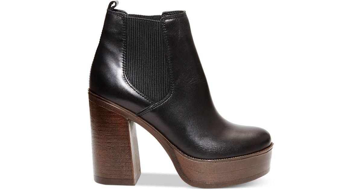 d545a60c87a Lyst - Steve Madden Women s Geanna Chunky Heel Platform Booties in Black