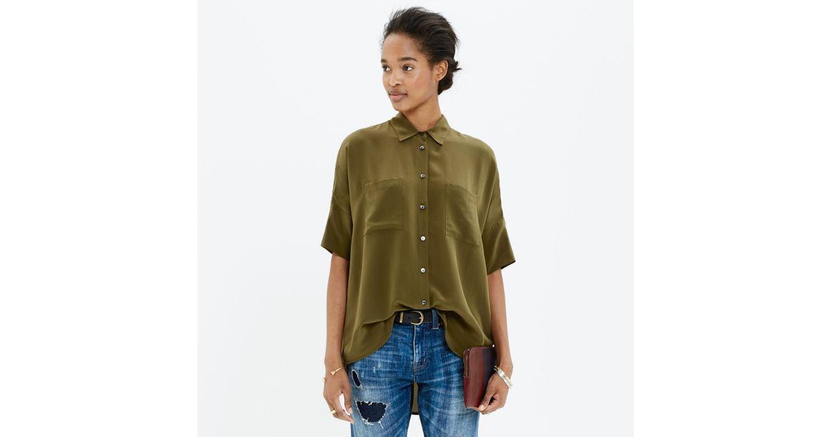 923d68e34 Madewell Silk Courier Shirt in Green - Lyst