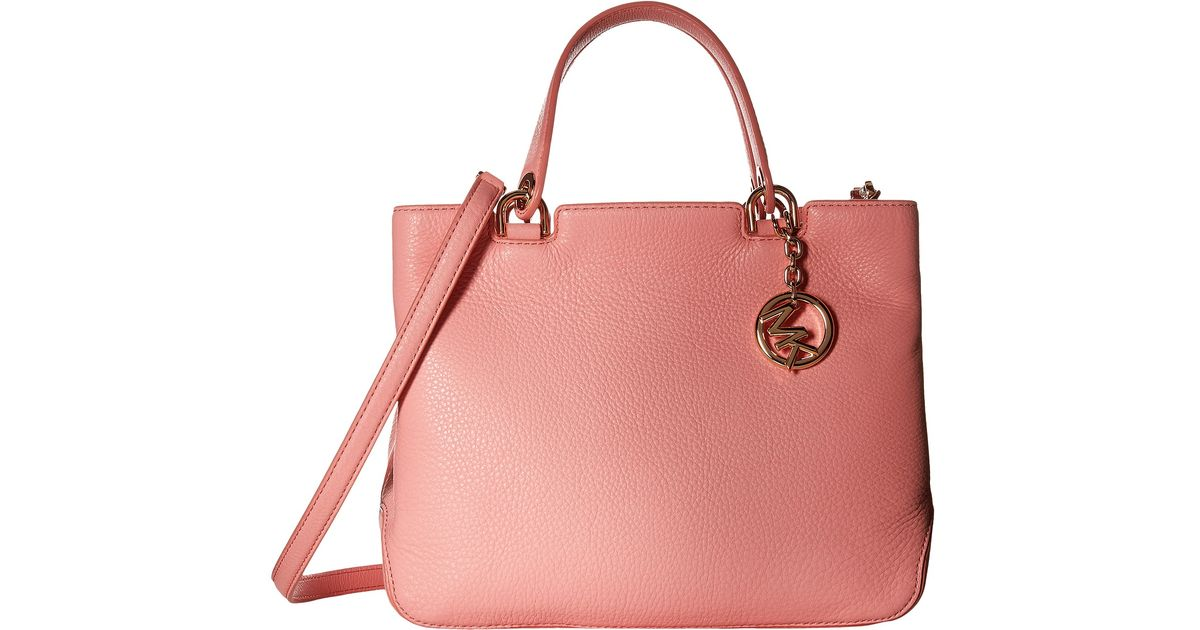 079dbe4bb1e35 ... official store lyst michael michael kors jet set snap pocket leather  tote bag in pink ca75f