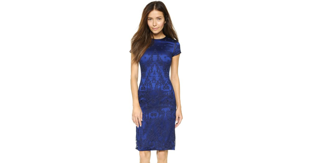 Catherine deane Bette Embroidered Fitted Dress - Midnight Navy ...
