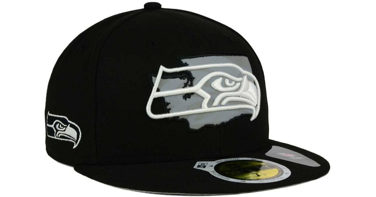 Lyst - KTZ Seattle Seahawks State Flective Redux 59fifty Cap in Black for  Men 6d629f56b