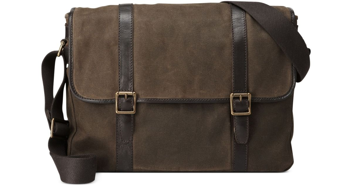 0cb7b1c904 Fossil Estate Calvary Twill East West Messenger Bag in Natural for Men -  Lyst