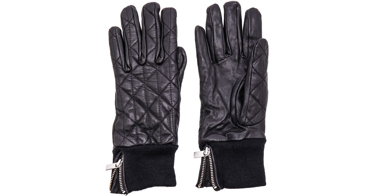 Maison scotch Leather Quilted Gloves in Black | Lyst : barbour quilted gloves - Adamdwight.com