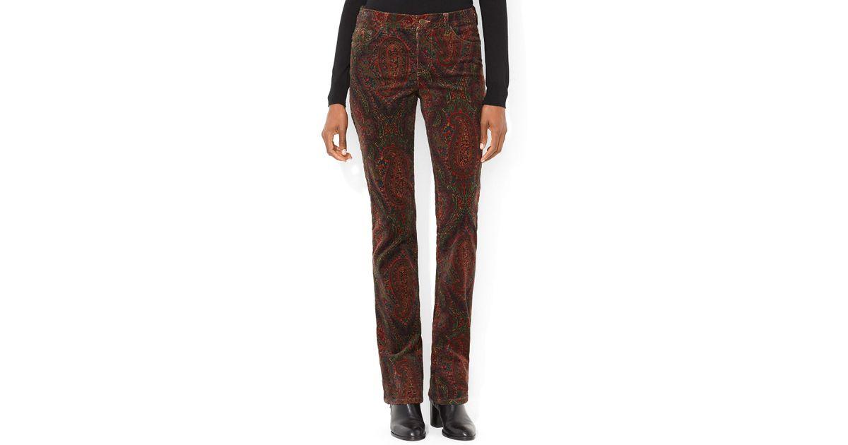 Ralph lauren Lauren Paisley Corduroy Pants in Brown | Lyst