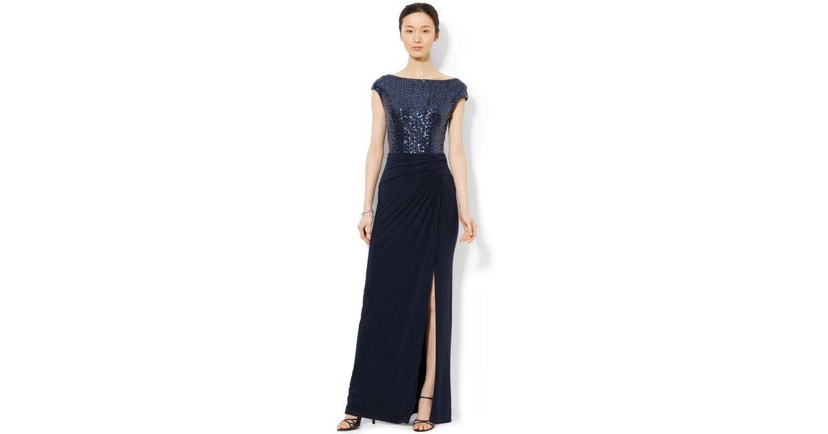 Lyst - Lauren By Ralph Lauren Sequined Boat-Neck Dress in Blue